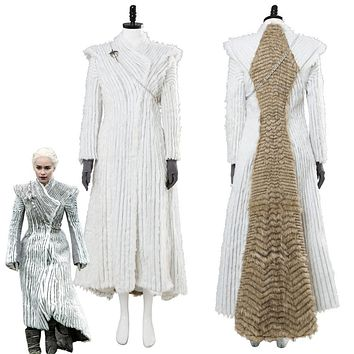 Game of Thrones Season 7 E6 Daenerys Targaryen Cosplay Costume Winter Outfit Dragonstone Snow Dress Coat Custom