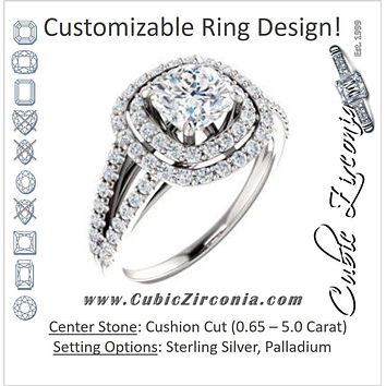 Cubic Zirconia Engagement Ring- The Carly  (Customizable Cushion Cut Design with Double Halo and Wide Split-Pavé Band)