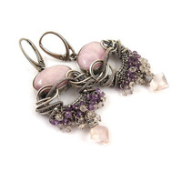 Wire wrap earring ,pink purple earring, gemstone fine jewelry , sterling silver earring, luxury jewelry