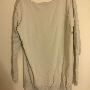 Theory Grey Cashmere Sweater With Silk Back Sz Large