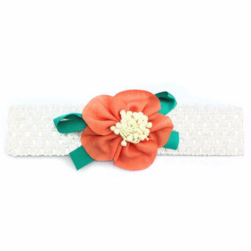 Floral Headband - White/Coral/Teal