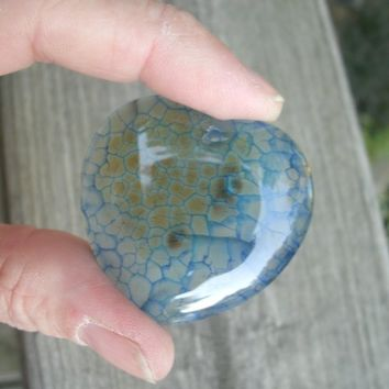 Blue Dragon Vein Agate, Heart Pendant Bead, medium blue with some brownish inside mixed with the blue on about 1/3 of the stone, pretty mix
