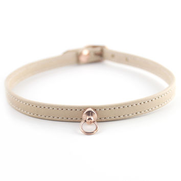 Nude and Rose Gold Leather Choker
