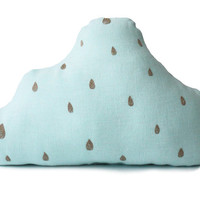 Cloud pillow Light Aqua Decorative Linen cushion Kids pillow Linen pillow Rain drops