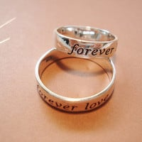"Infinity Sterling silver stamped ""Forever  Love"" ring, engrave any message inside of ring, handmade jewelry,  lovers, best friend,"
