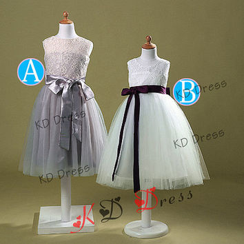 On Special Ivory/Gray Lace Keyhole Tulle Flower Girl Dress Children Birthday Party Dress Kids Dress with Gray/Plum Sash/Bow