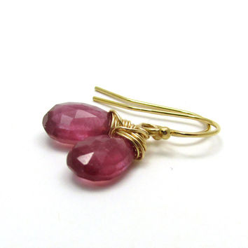Pink sapphire earrings, gold fill pink sapphire jewelry, hot pink earrings, pink drop earrings, September sapphire birthstone jewelry