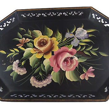 Metal Tole Tray Hand Painted Roses Pilgrim Art Shabby Chic