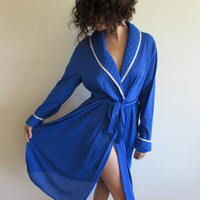 Vintage Nylon Royal Blue Robe with Puffy Quilted Lapels