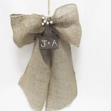 Burlap Wedding Bow With Rustic Personalized Sign