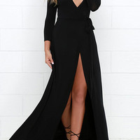 Black Long Sleeve Deep V-Neck Tie-Waist Front Slit Maxi Dress