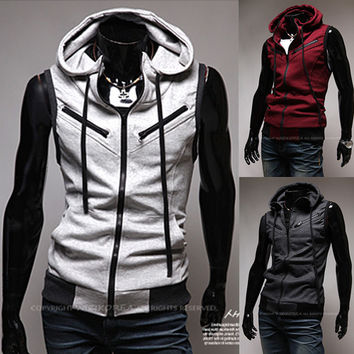 Men's Hooded Style Knitted Vest With Zipper College