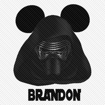 Star Wars Kylo Ren w/ Name/Date Mickey Mouse Head Disney Vacation Birthday Printable Iron On Transfer DIY Clipart