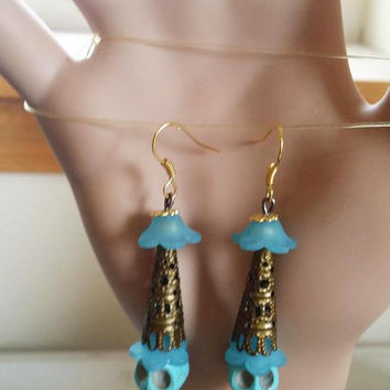 blue turquoise earring blue skull earrings long dangles stone bead earrings sugar skull day of dead goth jewelry