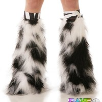 Luminous Furry Leg Warmers with Zebra Kneebands - Rave Costume Fluffies