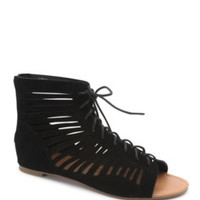 Black Poppy Strappy Open Toe Lace Up Sandals at PacSun.com