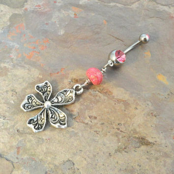 Tribal Flower Belly Button Jewelry Ring Pink Beaded Kawaii Flower