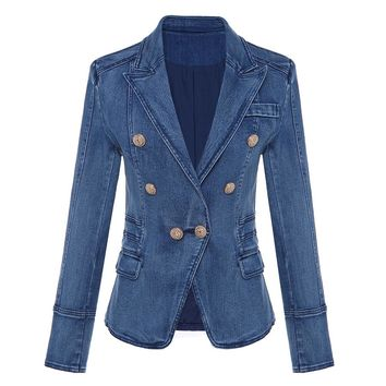 Denim Metal Lion Buttons Double Breasted Blazer Jacket