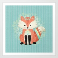 Cute Little Fox Art Print by Noonday Design | Society6