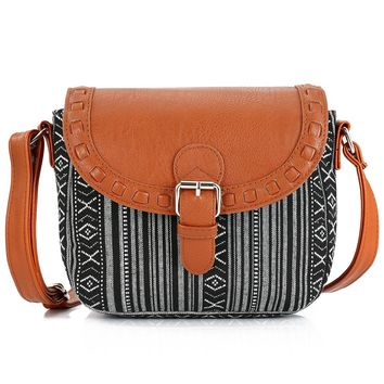 Vintage Black Stripe Boho Tribal Clutch Women Crossbody Bag Ladies Shoulder Bag with