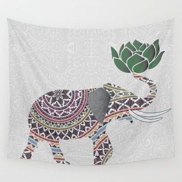 Elephant Tapestry Wall Hanging Indian With Lotus Flower