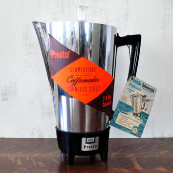 Vintage Presto Percolator, Automatic Coffee Maker, Submersible, Stainless Steel Coffee Pot, NOS, 2-9 Cups