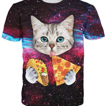 Cat Tacos and Pizza All Over Print Hip Hop Urban Swag Sublimation All Over Print Shirt Tee Shirt Graphic Tee Gift Idea Free Shipping USA