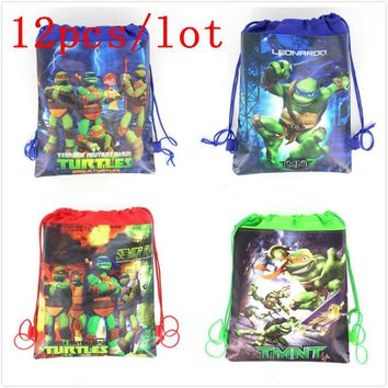 12pcs/lot Cartoon Drawstring Backpack lightweight Portable Non-woven Fabrics Storage Gift Bags Ninja Turtles Favor School Bag