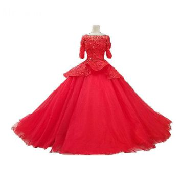 Classic Red Ball Gowns Dream Princess Marriage Tiered Half Sleeve Lace Beading Open Back Formal Wedding Dress Quality