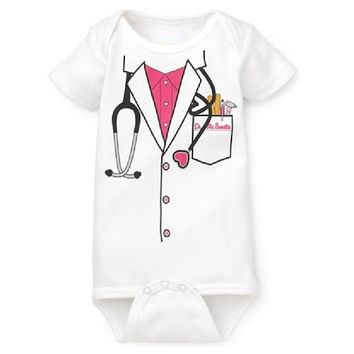 2017 Newborn Bodysuits Girls Doctor One-pieces clothes 100% Cotton body baby girl jumpsuit ropa de bebe baby girl clothes