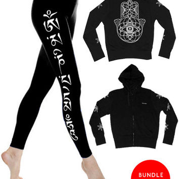 Geometric Hamsa Hoodie x Blk Om Mani Leggings Bundle