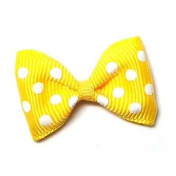 Polka Dots Top Knot Bow — Yellow + White