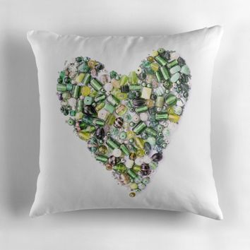 'Green Glass Bead Heart Photography' Throw Pillow by Sarah Davies