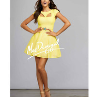 Mac Duggal 30002 Lemon Short Cap Sleeve Cut Out Dress 2015 Homecoming Dresses