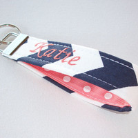 Key Fob Key FOB / KeyChain / Wristlet  -  Monogrammed - embroidered Navy Blue chevron white polka dots coral ribbon - personalized