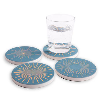 Fun Radial Patterns adorn these Absorbent Ceramic Coasters