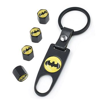 Car Tire Valve Stem Air Caps Cover IN CART Universal Steel Keychain Fashion Style Cool Batman Black