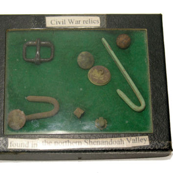 Civil War Relics, Boxed, Recovered N Shenandoah Valley, ca 1860s, Antiques 100+ Years