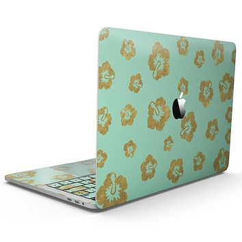 Mint and Gold Floral v1 - MacBook Pro with Touch Bar Skin Kit