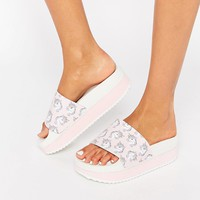 TheWhiteBrand Unicorn Flatform Slider Sandals at asos.com