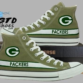 hand painted converse hi green bay packers football superbowl handpainted shoes c