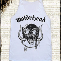 Size L - MOTORHEAD Shirts Heavy Metal Shirts Hard Rock Shirts Women Tee Shirts Vest Singlet Tank Top Women Tunics Sleeveless White Shirts