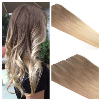 "Ombre Hair Extension - Blonde Ombre Hair - Ash Blonde Ombre Clip In Hair Extension - 22"" light Ash Brown to Blonde Clip in Hair"