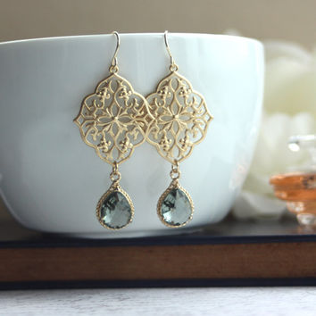 A Gypsy Art Deco Filigree Chandelier Grey Black Glass Gold Plated Drop Earrings. Maid of Honor. Bridesmaids Gifts. Boho Summer. Kite Shield