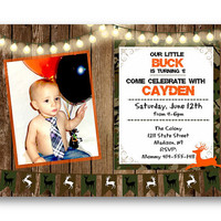 Camouflage Birthday Invitation camo Woodland photo invite with deer green and orange wood rustic camo army military woods hunting