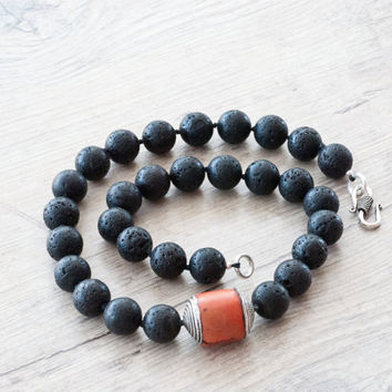 Lava Rock Necklace, Santorini Black Lava Rock & Red Natural Coral, Chunky Modern Necklace,  Contemporary Greek Jewellery, Statement Necklace
