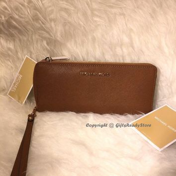 New! MICHAEL KORS$168 Jet Set Travel Leather Continental Wristlet/Wallet-Luggage