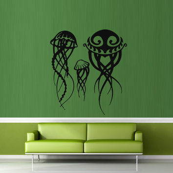 Wall decal decor decals art sticker jellyfish animal ocean sea swimming immersion family (m416)