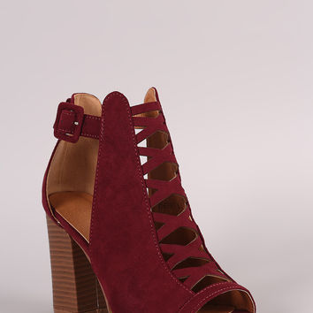 Suede Crisscross Cutout Chunky Heeled Booties