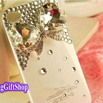 Crystal Bow iPhone 5 Case,Bow-knot iPhone 4 case, iPhone 5C case, Swarovski crystals iPhone 4S Case, Bling Rhinestone iPhone 5S case,Y007